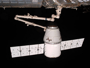 Dragon vehicle docked on ISS